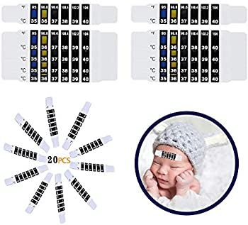 20-Pieces Finyosee Forehead Reusable Fever Thermometer Strips