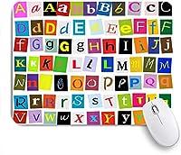 HASENCIV ゲーミング マウスパッド,子供のためのアルファベットABC男の子と赤ちゃんのための教育学習ツール大規模なAからZのアルファベット文字カラフルなタイポグラフィ,マウスパッド おしゃれ ゲームおよびオフィス用 滑り止め 防水 PC ラップトップ