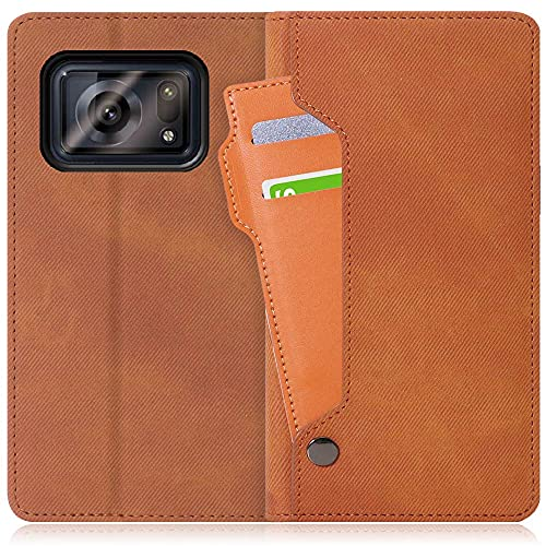 LOOF Storage AQUOS R6 SH-51B A101SH ケース カバー 手帳型 手帳型ケース アクオス スマホケース カード収納 ベルトなし マグネットなし カードホルダー スタンド[キャメルブラウン]