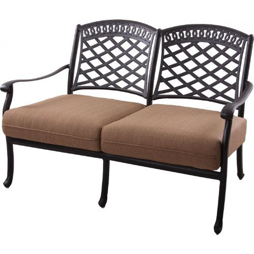 Darlee Sedona Cast Aluminum Patio Loveseat - Mocha