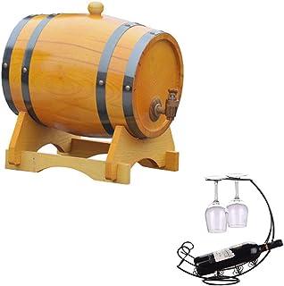 Tonneau à vin en bois Casier à vin en fût de chêne, seau de stockage en chêne whisky Fontaine à eau 5L, adapté à la vinifi...