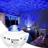 Proyector de Luz Estelar, 2 en 1 LED Cambiar Color Reproductor de Música con Bluetooth Temporizador, Lámpara Luces Nocturnas de Nebulosa Giratorio con Control Remoto, Niños/Decoración/Regalo(blanco )