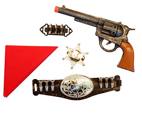 Halloweenia - Cowboykostüm Set - Halstuch Gürtel Patronen Revolver Pistole Sheriff Stern, Mehrfarbig