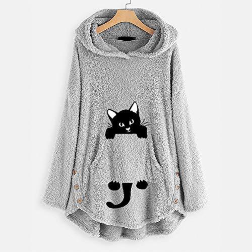 Women's Cat Print Jumper Hoodie Cute Sweatshirt Blanket,Fluffy Pullover Coat Oversized Super Soft Warm Comfortable Giant Hoody,Fit for Adults Women Teens (Gray,M)