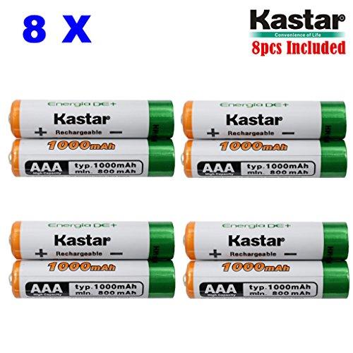 Kastar AAA 8-Pack Ni-MH 1000mAh Super High-Capacity Rechargeable Battery PreCharged for Panasonic BK40AAABU HHR-4DPA HHR-55AAABU HHR-65AAABU, Solar Spinner, Solar Power Unite, Garden Solar Light, Mice