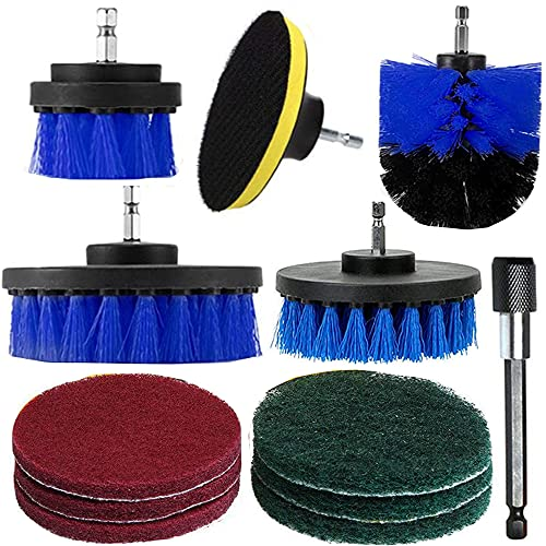 Aolex Bürstenaufsatz Bohrmaschine Set, 12 Stück Bürste für akkuschrauber, Drill Brush Kit (Blau)