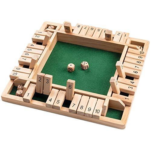 LUCKLY Shut The Box Game en Bois 4 Joueurs, Jeu de société C
