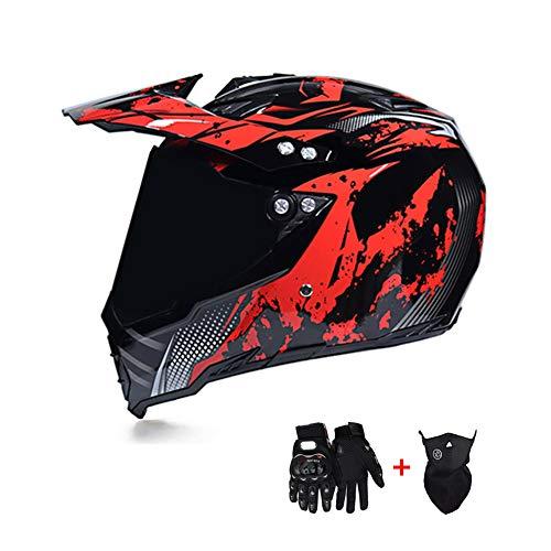 Casco de Motocross, Casco de Cross Moto con Visera Lente Protectora/Máscara/Guantes, Moto Off-Road Downhill Enduro Protección Casco Integral ATV MTB Quad Cascos de Motocicleta, Negro Rojo,L