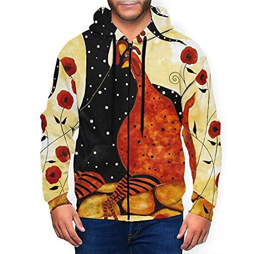 Sudadera con capucha para hombre con cremallera completa con capucha y diseño clásico con capucha, Guru-Shop - Figura decorativa (2 unidades), diseño de gallinas, color negro, XL