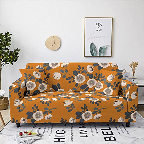 Sofa Cover Stretch Elastic Orange Blue Flower Printed Sofa Slipcover 2 Seater Polyester Spandex Furniture Decorative Soft Loveseat Couch Covers Chair Protector for Pets Kids Sofa Covers