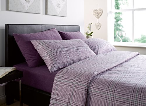 Luxurious Thermal Micro Fleece Double Bed Quilt Cover Set Stripe Damson Prince