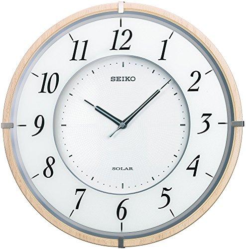 セイコー クロック 掛け時計 SOLAR+ ソーラープラス 電波 アナログ 薄型 木枠 薄茶 木地 SF501B SEIKO