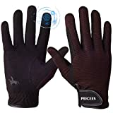 Peicees Horse Riding Gloves Professional Equestrian Riding Gloves for Women/Men/Kids Touchscreen Horseback Riding Gloves for Horse Riding Cycling Motorcycle and Outdoors Black/Coffee