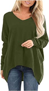 Bloomn Women Fashion V Neck Long Sleeve Loose T-Shirt Blouse Tops Oversize
