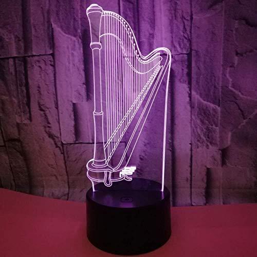 3D LED Luz de Noche luz Brithday 3D ilusión óptica de Noche de la lámpara LED Arpa niños Juguetes for niños Decoración Visual Tabla lámpara de cabecera del sueño