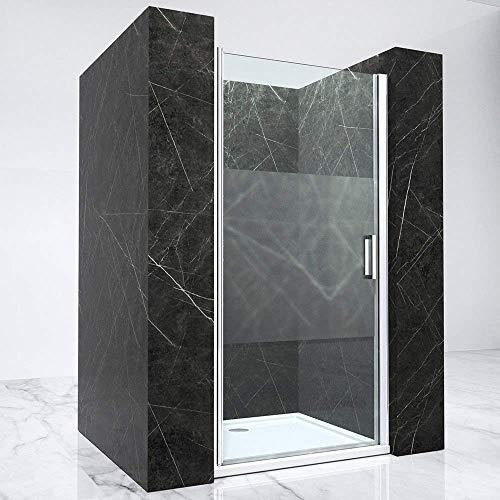 BxH: 80x190 cm Nischentür Nischenabtrennung Hagen02MS-800 Sicherheitsglas in Klarglas mit Milchglas-Streifen | mit Hebe- & Senkfunktion | Griff edel verchromt | inkl. NANO