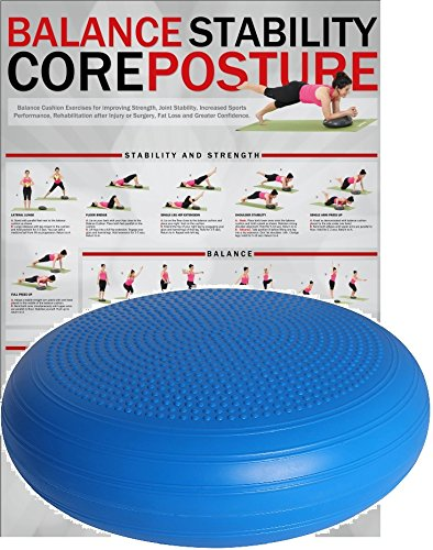 POWRX Ballsitzkissen mit Noppen I 50 cm Gleichgewichtskissen extra groß I XXL Balance-Kissen Blau PVC frei I Luftpad für Fitness, Yoga, Pilates