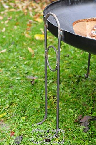 ÖLBAUM Massive MASSIV Premium-Feuerschale ca. 60 cm (Feuerschalen von 50-100 cm) cm Holzkohlegrill Schwenkgrill Terrassenfeuer Kugelgrill