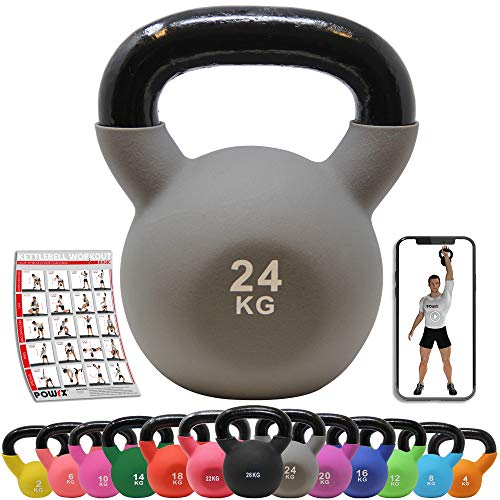POWRX Kettlebell ghisa 24 kg - Ideale per Esercizi di »Functional Fitness« - Rivestimento in...