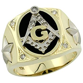 Genuine 10k Gold Diamond Black Onyx Square & Compass Masonic Ring for Men Star Sides Oval Shape Rhodium Accent 0.119 ctw 5/8 inch size 9