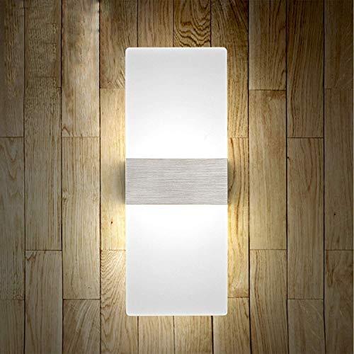 DINGYGJ 2PCS 12W Aplique Pared Interior LED Blanco Frio Lámpara de Pared Moderna 220V Plata Cepillado para Salon Dormitorio Sala Pasillo Escalera