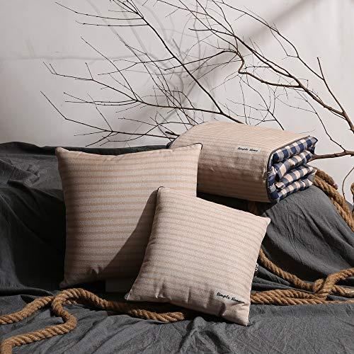 Mantas de cama Sencillo de rayas a cuadros almohada edredón doble uso del algodón fresco de múltiples funciones del coche del amortiguador del sofá del edredón del edredón del aire acondicionado Edred