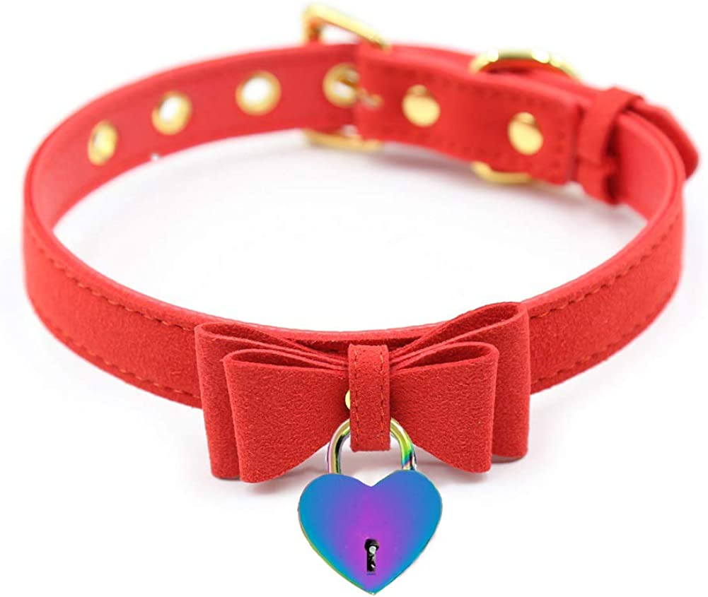 PU Leather Bow Collar Necklace Choker with Bell Cat Cosplay Kitty Necklace Choker Collar for Women(Z13)