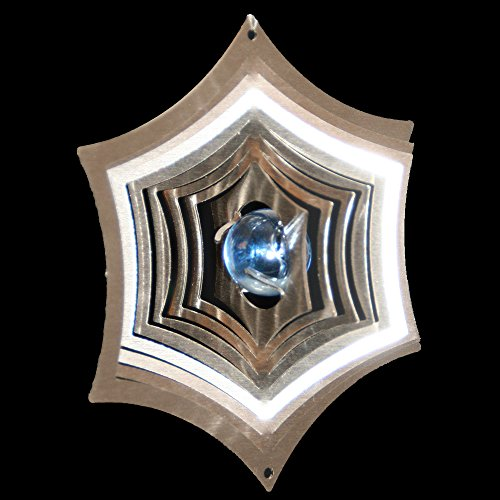 Roestvrij stalen windspel spinnennet Ø-8,5 cm met glazen bol Ø-16 mm (lichtblauw) Voor de tuin en als raamdecoratie