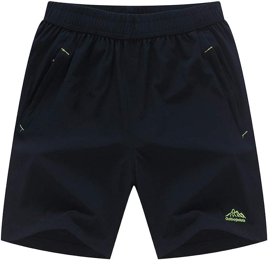 Gergeos Men's Plus Size Fashion Pure Color Shorts Elastic Waist Summer Outdoors Casual Shorts