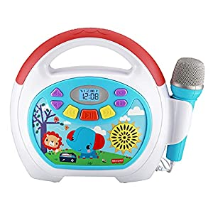 eKids Fisher Price Karaoke Machine, Portable Bluetooth Party Speaker with Microphone for Kids, Built-in Mother Goose Club Songs and Speaker with USB Port to Play Music