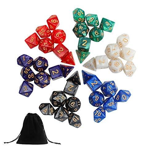 Jespeker Polyedrische Würfel Dungeons and Dragons Würfel Set 42 Stck Spielwürfel Set mit Taschen(Würfel w20, w12, w10/ 00-90, w10/ 0-9, w8, w6 and w4