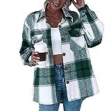 L&ieserram Damen Karierte Jacke Knöpfe Oversized Übergangsjacke Kurz Overshirt mit Karomuster Taschen Langarm Leichte Hemd Jacke E-Girl Style Y2K Boyfreind Herbst Oberteile Top Outfit (Grün, M)
