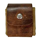 Leather and Canvas Bushcraft Bag - Collapsible Waxed Canvas Foraging Pouch, Waterproof Roll Up Pouch Foraging Pouch for Hiking (Brown)
