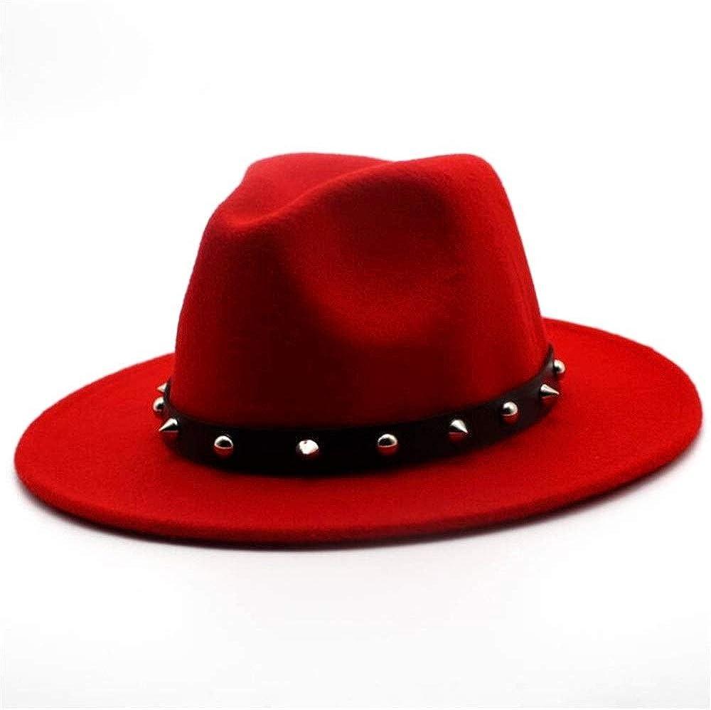 L.W.SUSL Fashion Women Men Wool Fedora Hat with Punk Rivet Outdoor Travel Church Casual Hat Wool Cloche Trilby Hat