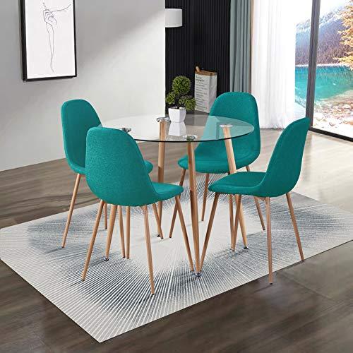 GOLDFAN Esstisch mit 4 Stuhl Glastisch und Blau Stoff Stuhl Runder Tisch Glas Wohnzimmertisch Set für Küche Esszimmer Büro usw