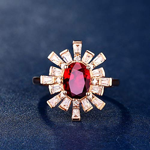 Epinki Women 18K Rose Gold Flower Shape 0.99ct Oval Ruby Ring Women Wedding Ring Size 6.5