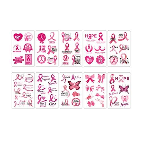 Healifty 50pcs ruban rose visage tatouages ??cancer du sein sensibilisation tatouages ??temporaire visage tatouages ??autocollants cancer du sein sensibilisation levée de fonds prix scolaire faveurs