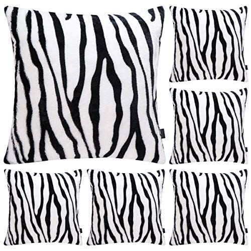 6 Pack Zebra Printed Series Pillow Covers,Soft Plush Animal Theme Faux Fur Decorative Throw Pillowcase Home Decor Cushion Cover,20x20 inch (CASE ONLY)