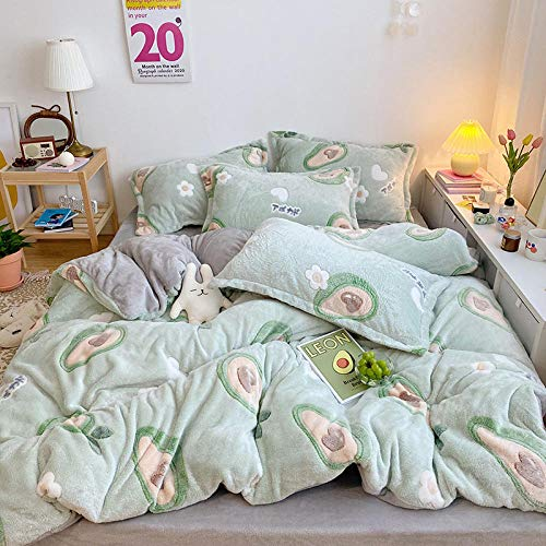 Flannel duvet cover set,Four-piece set of coral fleece for children in autumn and winter, three-piece set of milk flannel duvet cover to keep warm-Avocado_1.5m