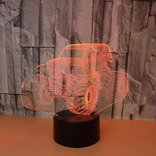 Mbywq Creative 3D nachtlampje kleurrijke tractor 3D nachtlampje kleurrijke touch afstandsbediening 3D Vision licht kleine tafellamp