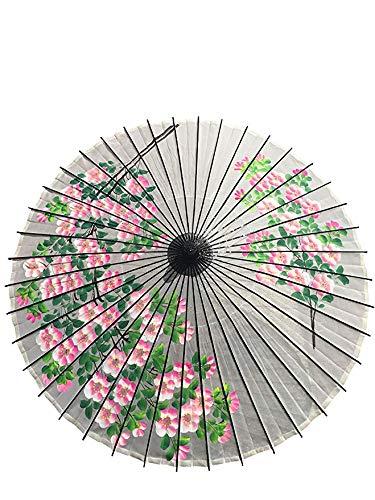 山本竹細工屋 (YAMAMOTOTAKIZAYIKUYA) 和傘 絹傘 桜絵 継柄 踊り傘 (白色)