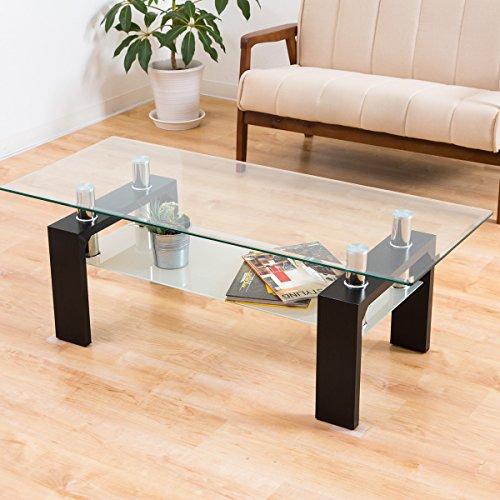 美感でスタイリッシュ 魅せるセンターテーブル 120cm幅 人気のクリア強化ガラス ディスプレイテーブル ガタツキ防止アジャスター 北欧スタイル (ブラック色)