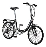 Schwinn Loop Adult Folding Bike, 20-inch Wheels, 7-Speed Drivetrain, Rear Carry Rack, Carrying Bag, Black