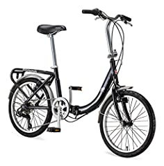 Lightweight step-through frame folds for easy storage; Folding frame with 20-inch wheels fit riders 56 to 74 inches tall 7-speed twist shifter provides smooth gear changes Front and rear linear pull brakes deliver secure stops Rear carrier includes d...