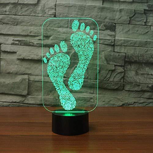 Lámpara de mesa con forma de luz nocturna LED con luz deslizante 3D 7 control remoto que cambia de color toque USB atmósfera interna