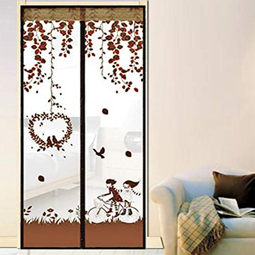 Curtain Anti Mosquito Magnetic Door Screen, Tulle Douche Gordijn met Elegant Jacquard Lace Fit Deur Full Frame Auto Close,Coffee,100 * 210cm