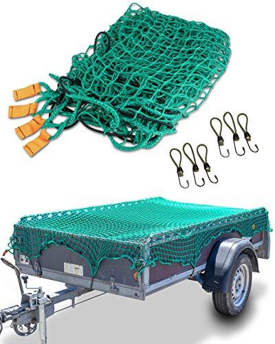 CargoVA® Intelligentes Anhängernetz 2x3M - Hängernetz mit Gummiseil, Eckenmarkierung und Haken - zur perfekten Ladungssicherung