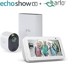 Arlo Ultra - 4K UHD Wire-Free Security 1 Camera System | Indoor/Outdoor Security Cameras with Echo Show 5 (Sandstone)