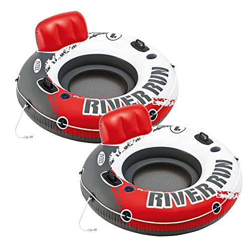 """Intex Red River Run 1 Fire Edition Sport Lounge, Inflatable Water Float, 53"""" Diameter 2 Pack"""