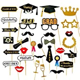 Dsaren 28 Piezas Graduation Photo Booth Props 2020 Glitter Gafas Bigotes Sombrero Graduacion Cabina de Fotos con Accesorios para Decoración de Fiesta Graduación